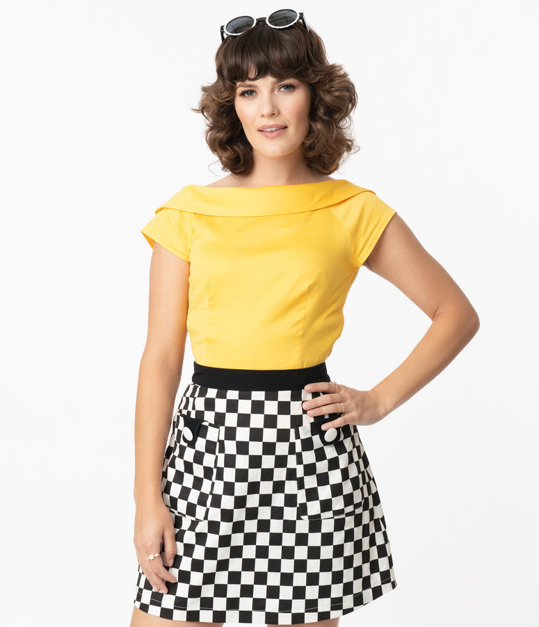Collectif 1950s Style Yellow Back Bow Cordelia Top