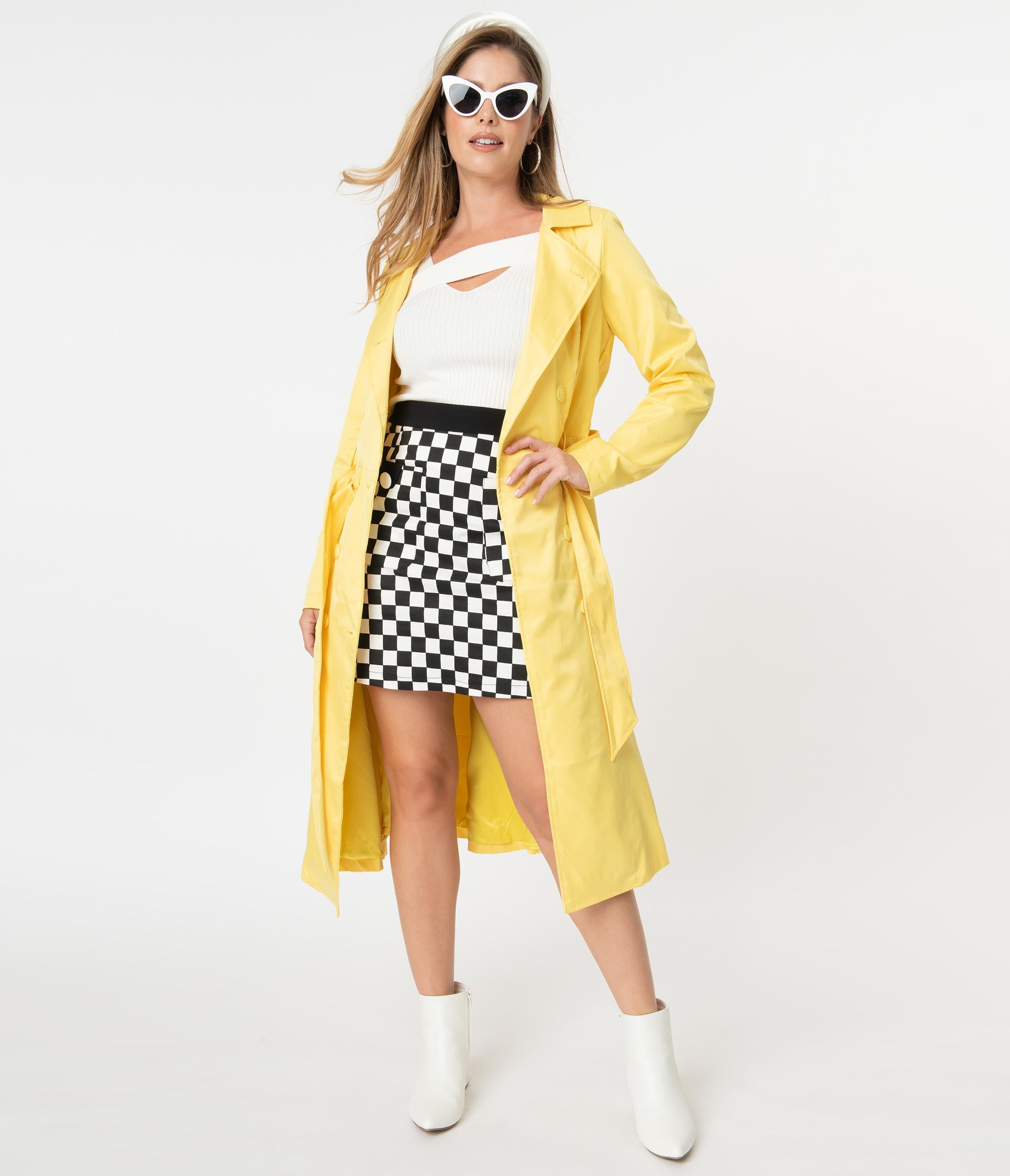 Vintage Coats & Jackets | Retro Coats and Jackets Collectif Retro Style Yellow Korrina Trench Coat $150.00 AT vintagedancer.com
