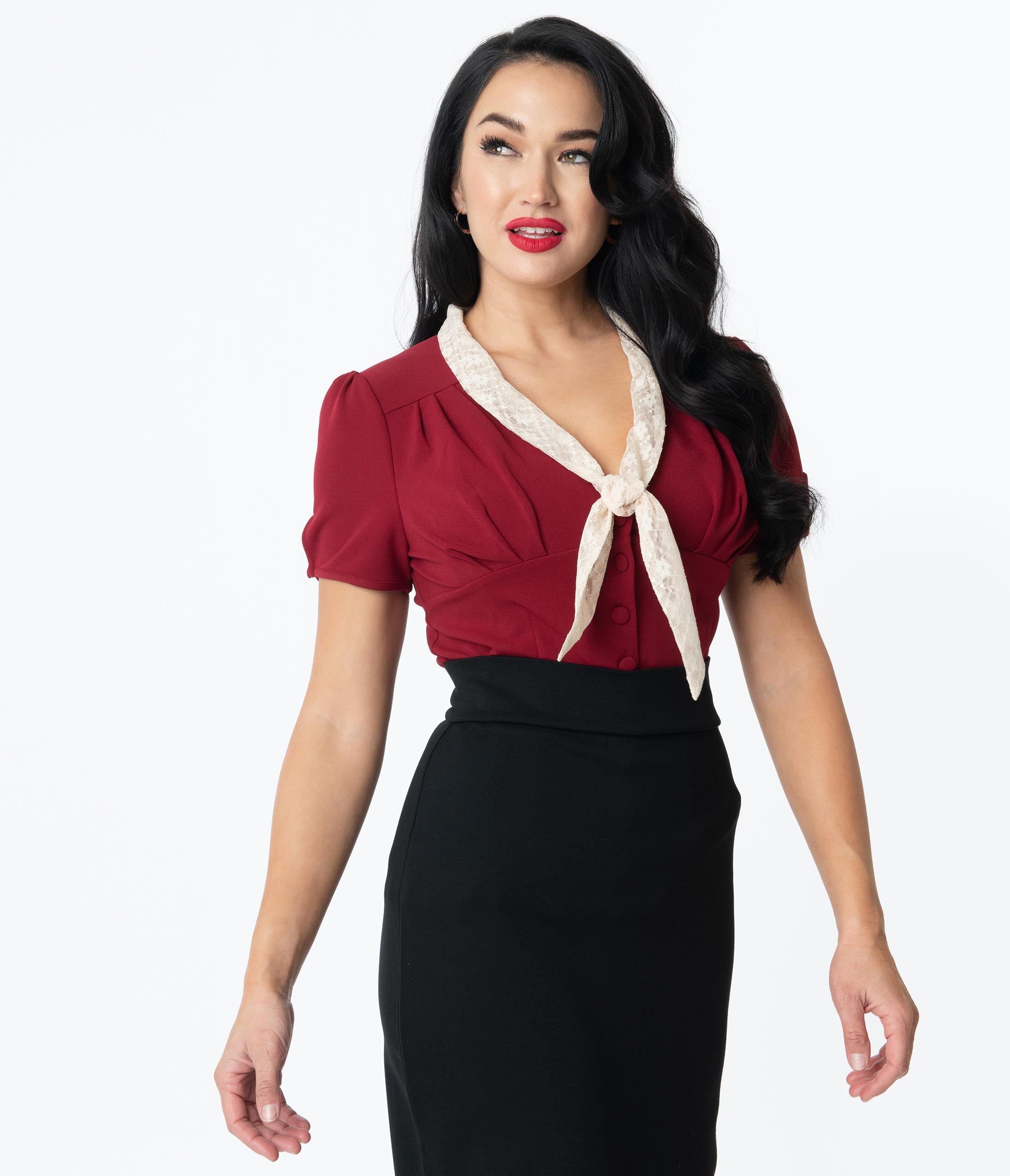 What Did Women Wear in the 1950s? 1950s Fashion Guide Unique Vintage Burgundy Shari Top $48.00 AT vintagedancer.com