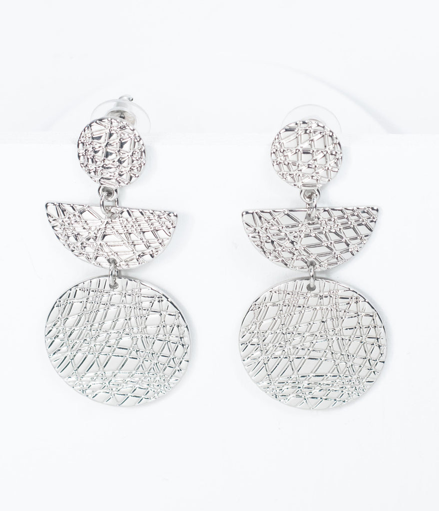 Silver Scratch Geometric Drop Earrings