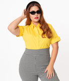 Plus Size Retro Style Yellow Short Sleeve Blouse