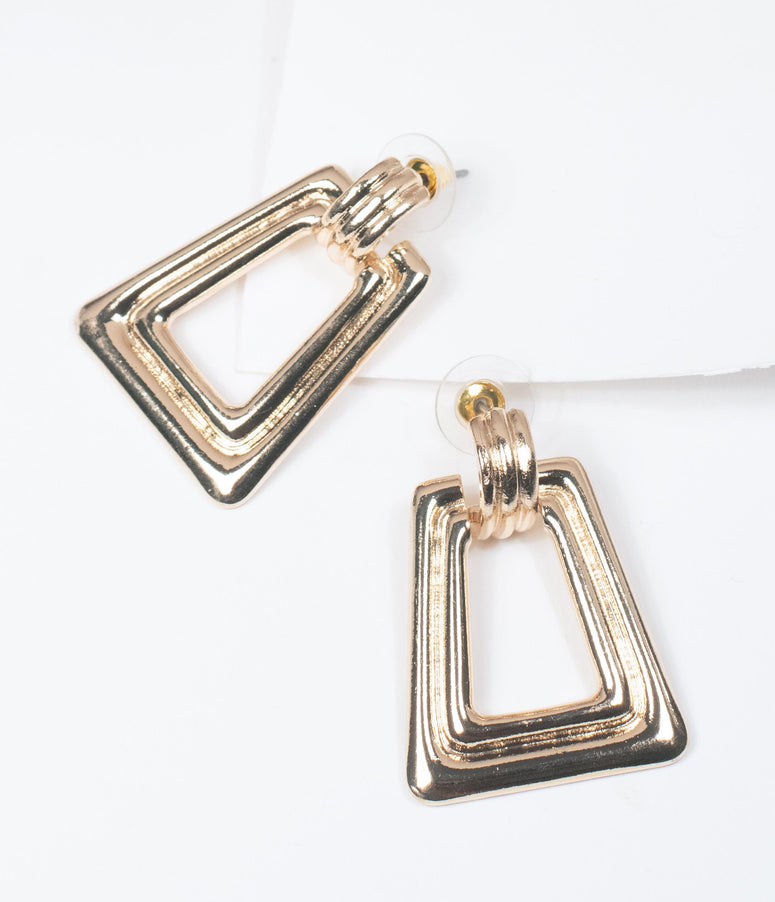 1970s Gold Trapezoid Grooved Drop Earrings