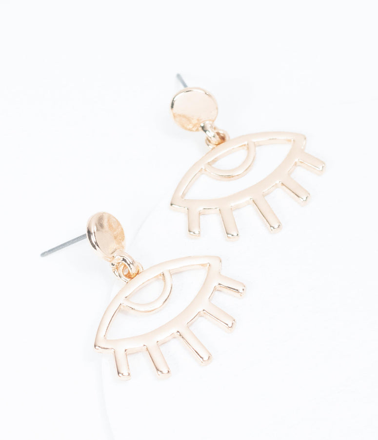 Gold Evil Eye Drop Earrings