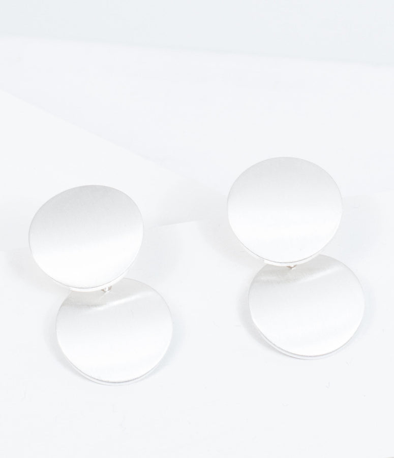 Brushed Silver Circle Dot Drop Earrings