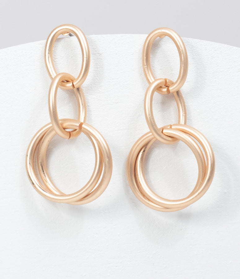 Matte Gold Linked Ring Drop Earrings