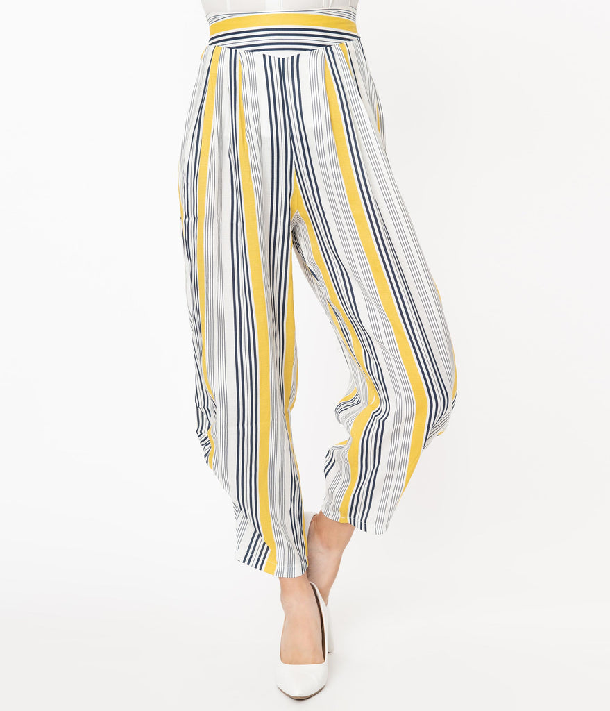 Yellow & White Stripe Knotted Cuff Pants