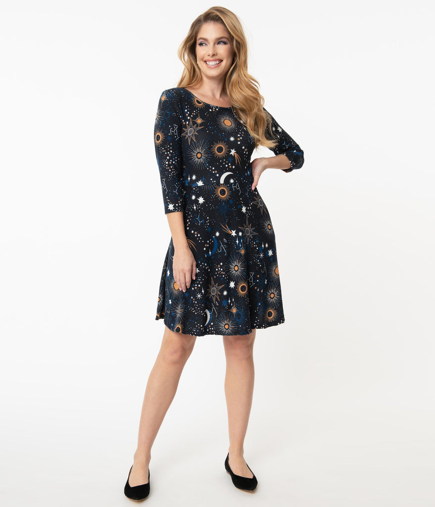 Dark Blue & Galaxy Print Sweater Fit & Flare Dress