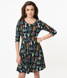 Black & Multi Cactus Print Sweater Fit & Flare Dress