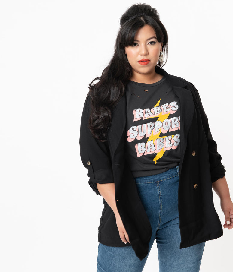 Plus Size Black Double Breasted Oversized Blazer