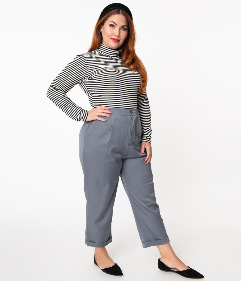 Plus Size Slate Blue Cropped Slacks