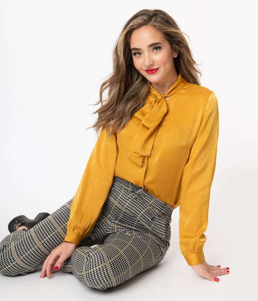 Retro Style Golden Yellow Bow Tie Blouse