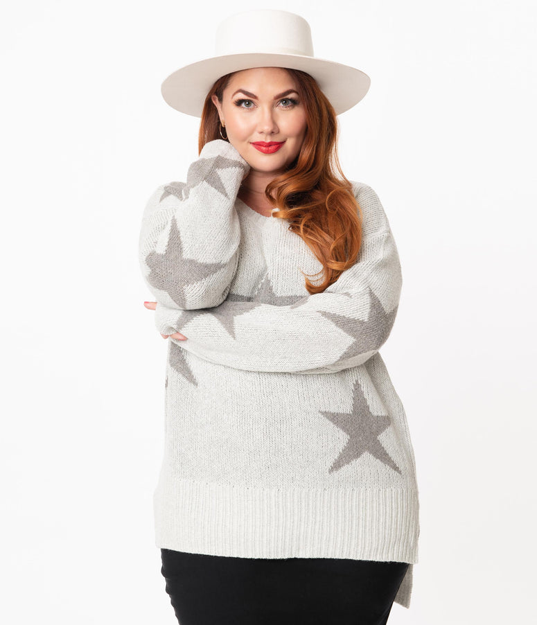 Plus Size Light Grey & Stars Oversized Sweater