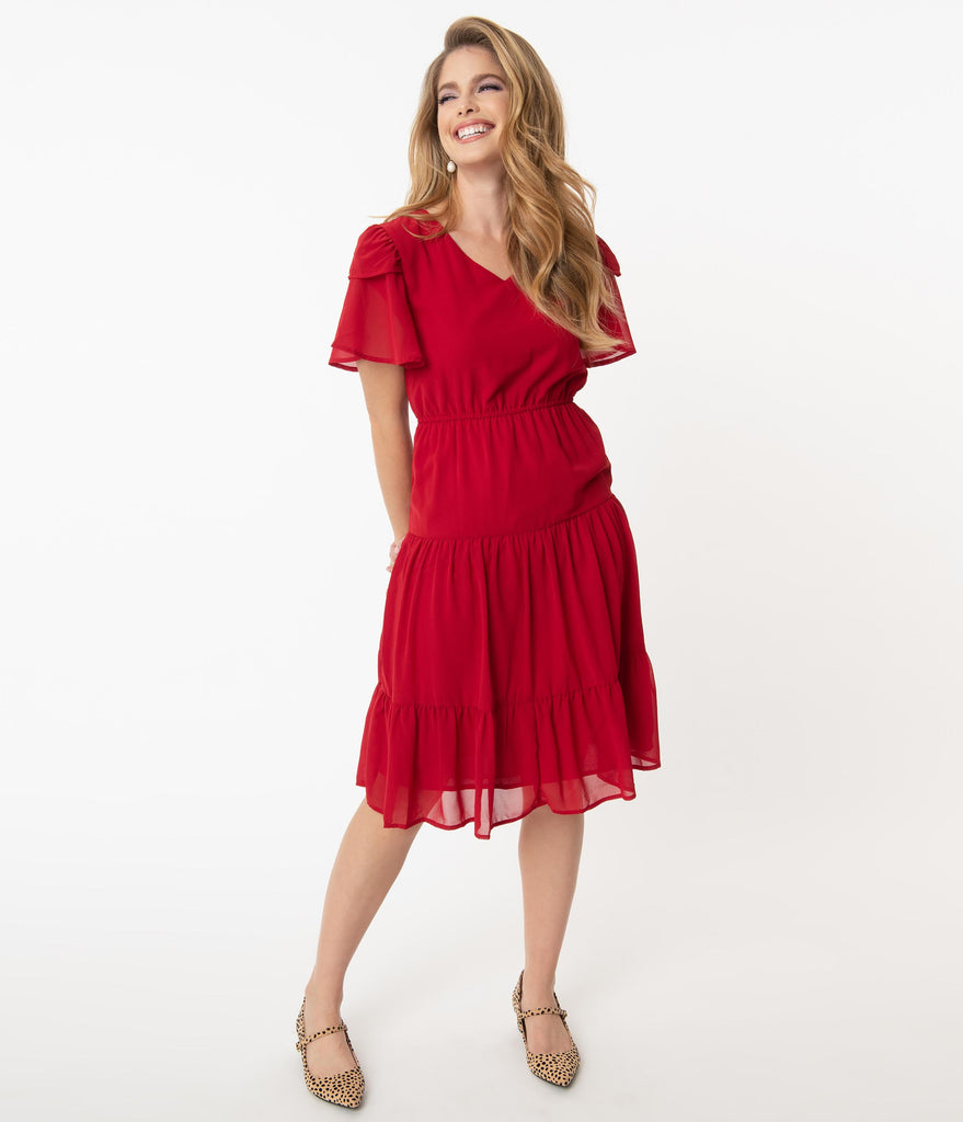 Retro Style Red Tiered Amara Flare Dress
