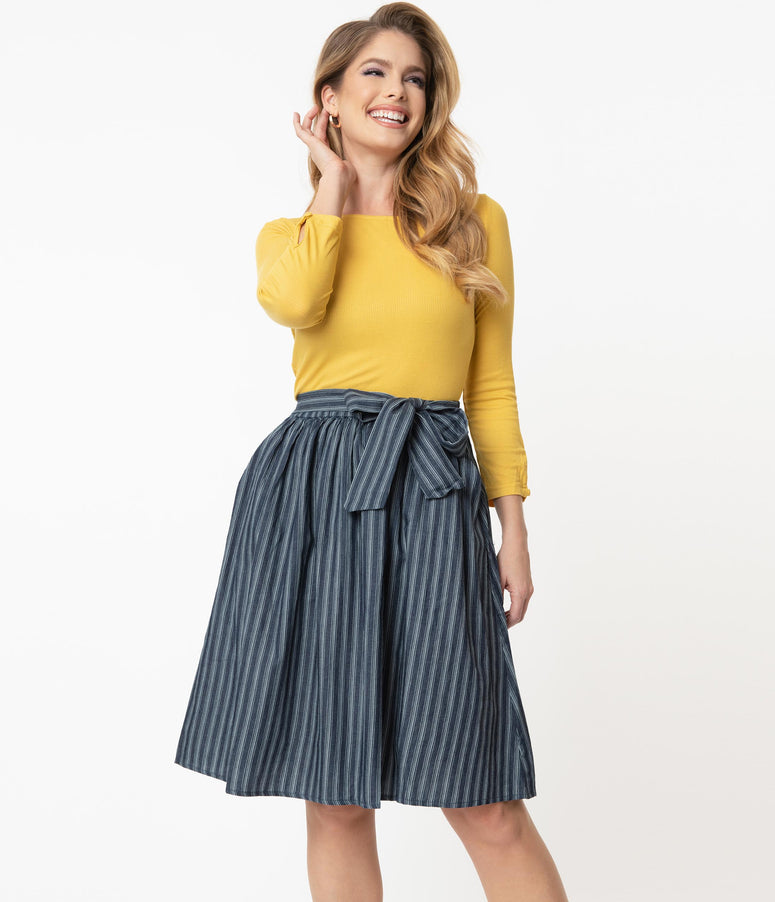 Retro Style Blue Striped Gathered Flare Skirt