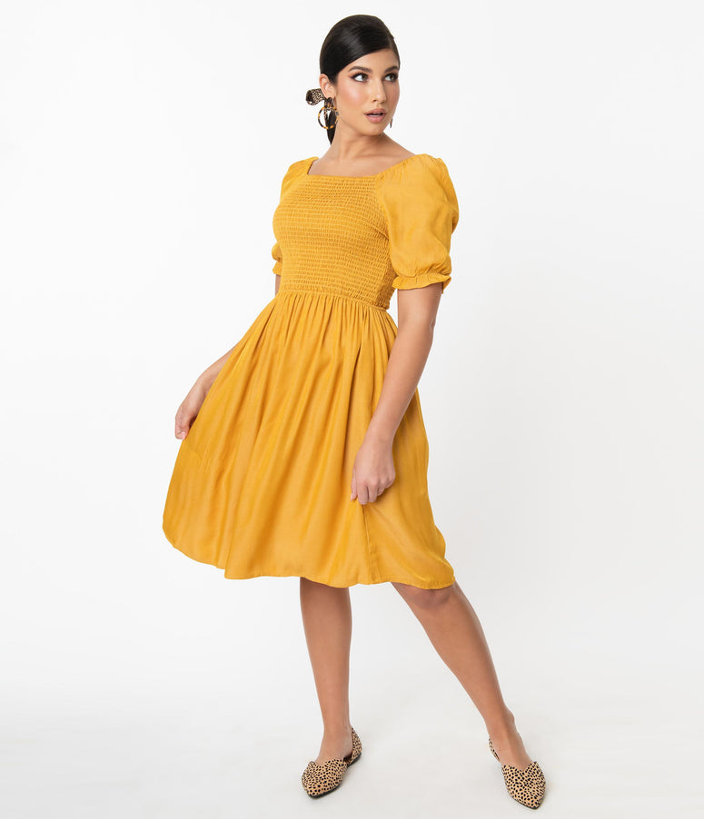 1960s Mustard Yellow Smocked Spencer Fit & Flare Dress