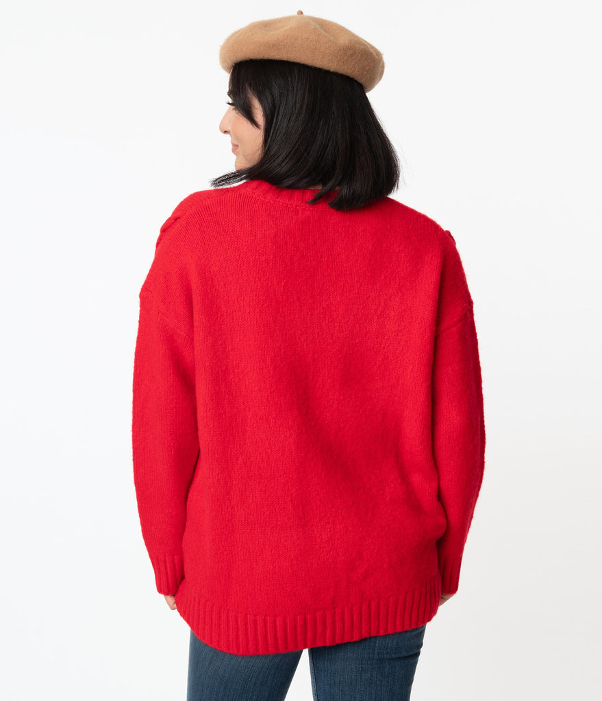 Red Cable Knit Oversized Sweater