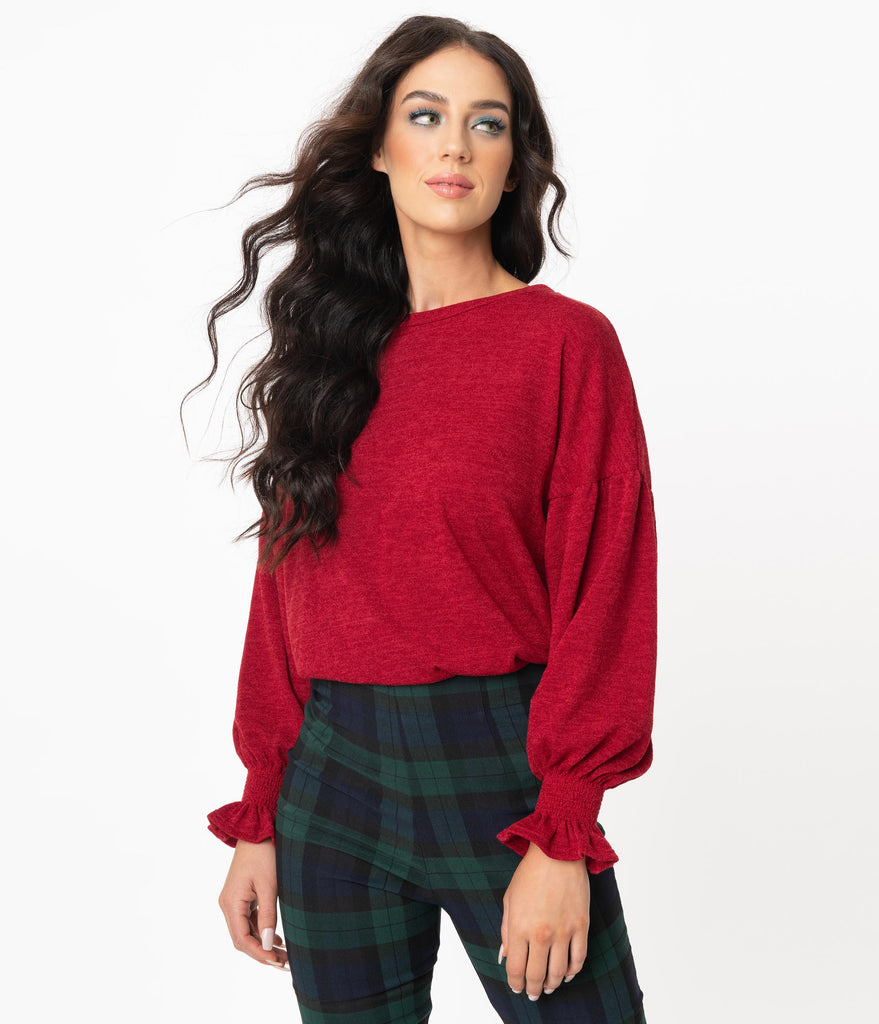 Burgundy Long Sleeve Casual Sweater