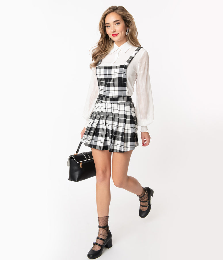 1960s Black & White Plaid Pinafore Flare Dress
