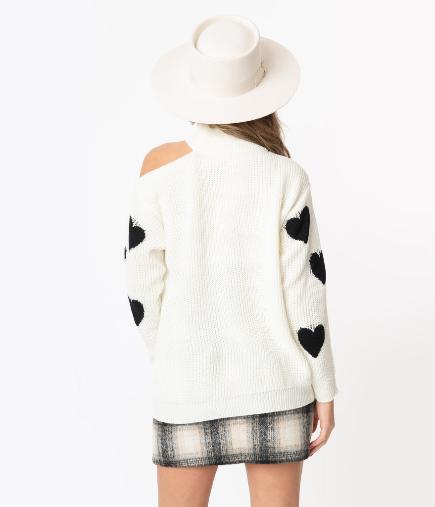 Ivory & Black Heart Shoulder Cutout Turtleneck Sweater