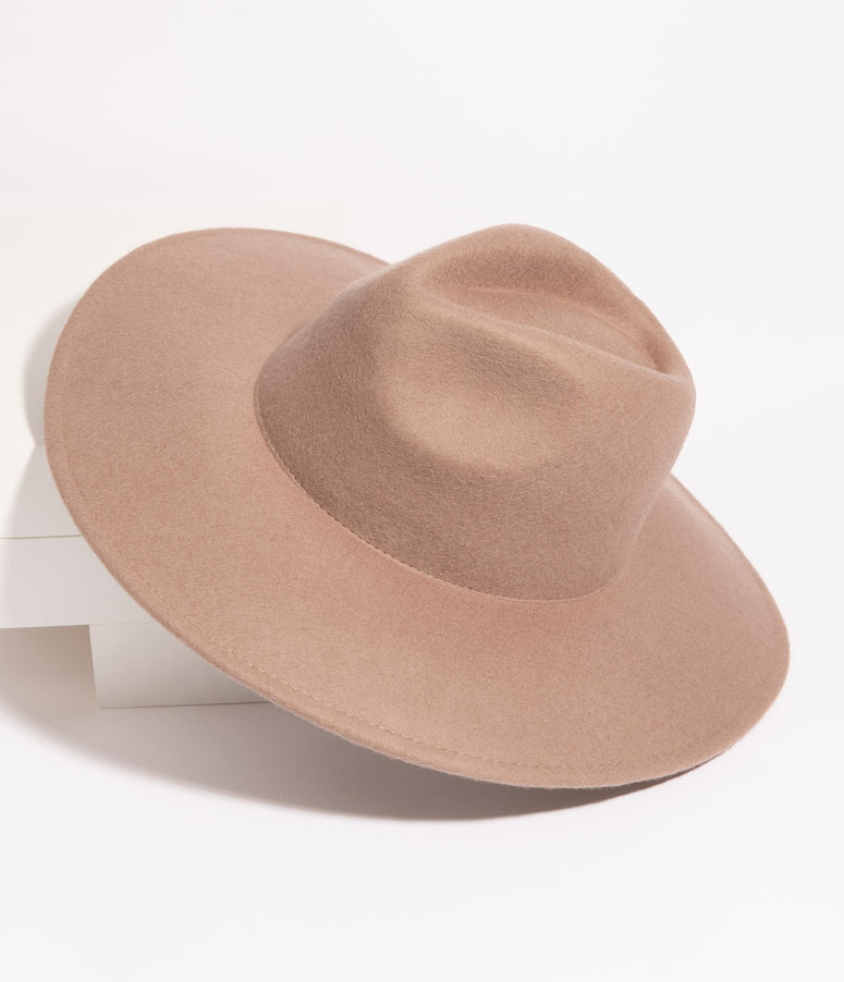 1970s Style Tan Wool Wide Brim Fedora Hat