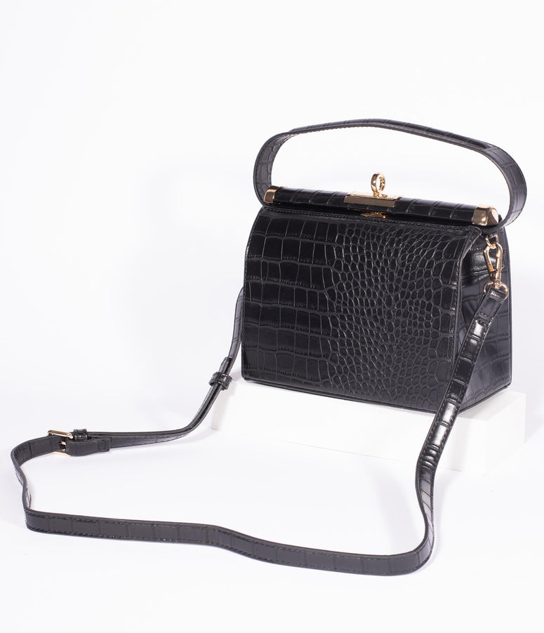 Vintage Style Black Crocodile Leatherette Handbag
