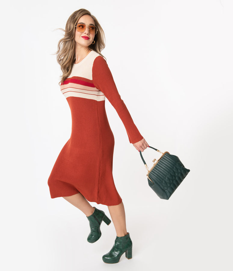 Retro Style Rust & Beige Colorblock Sweater Dress