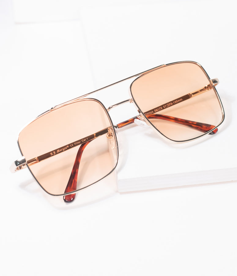 1970s Gold & Amber Square Issue Sunglasses