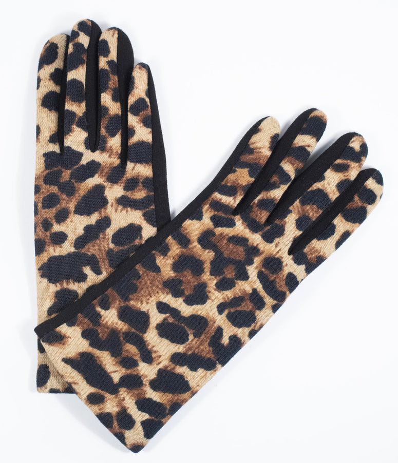 Retro Style Black & Leopard Wrist Gloves