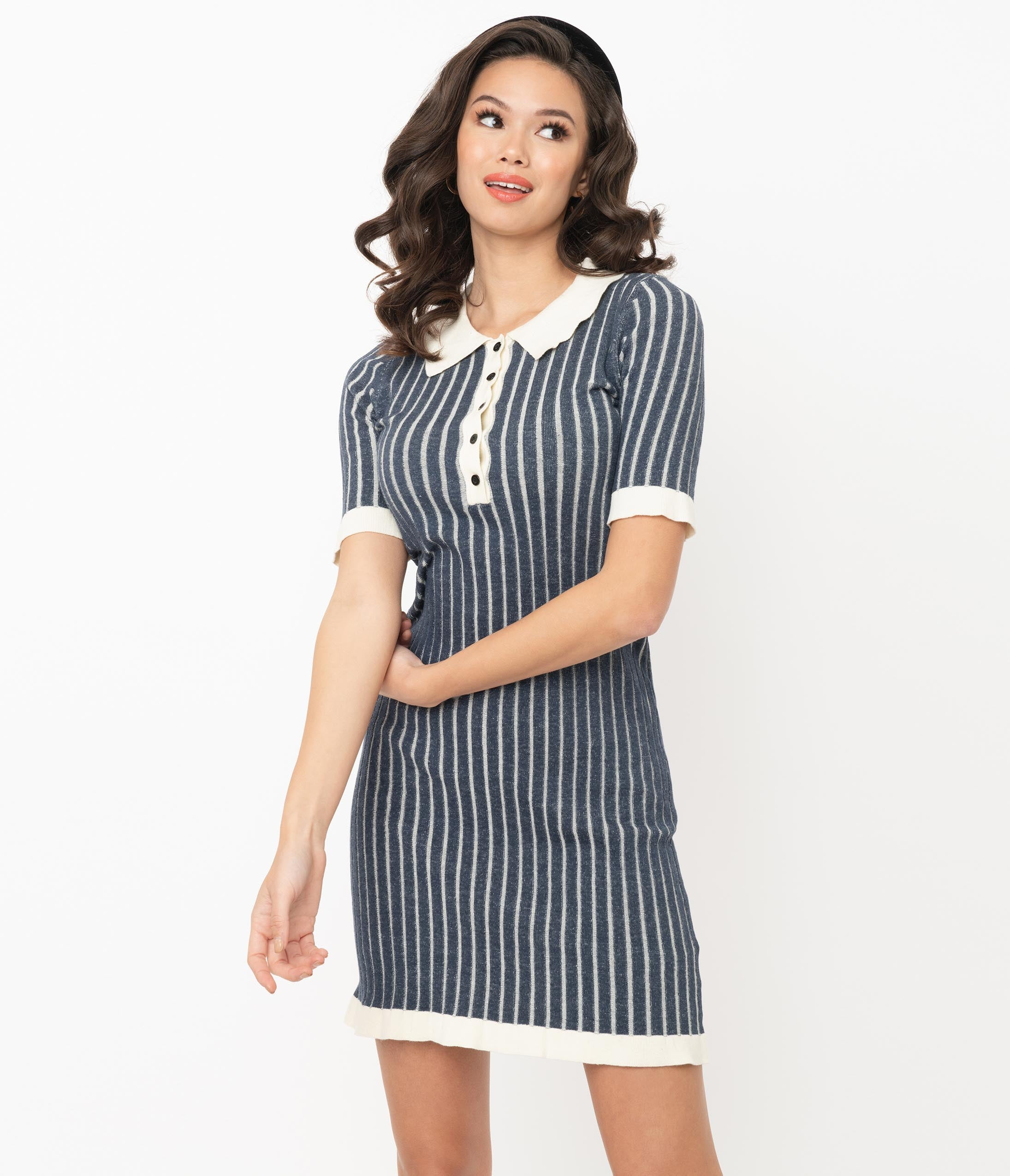 Shop Queen's Gambit Outfits – 60s Clothes Retro Style Navy  Off White Stripe Sweater Pencil Dress $62.00 AT vintagedancer.com