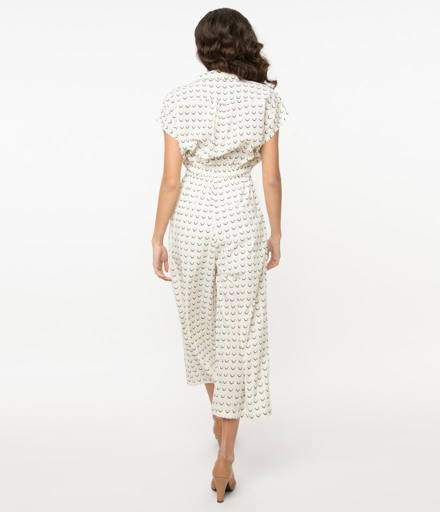 1970s Style Off White & Black Crescent Print Jumpsuit