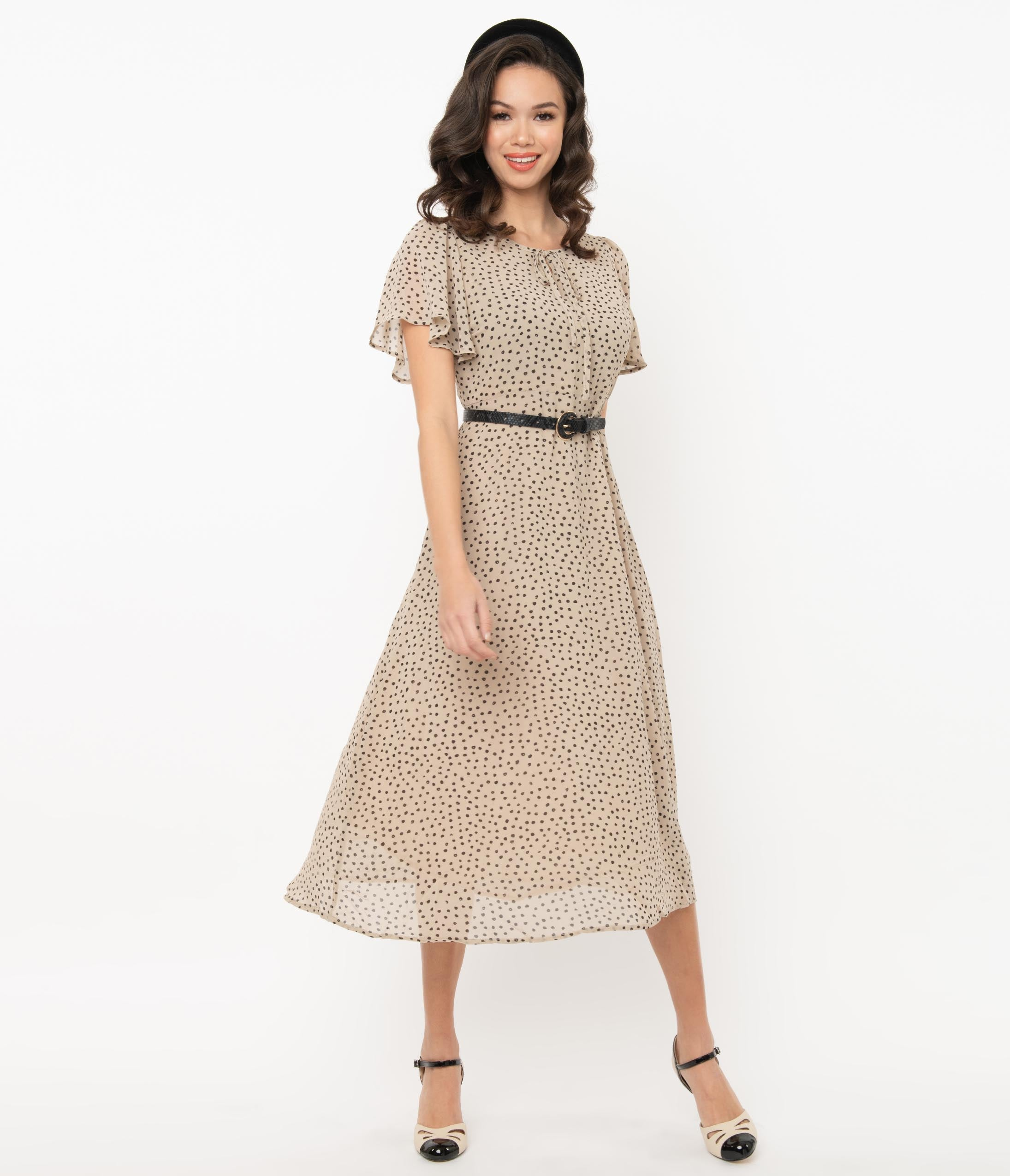 1930s Style Clothing and Fashion Vintage Style Beige  Black Dotted Midi Dress $62.00 AT vintagedancer.com
