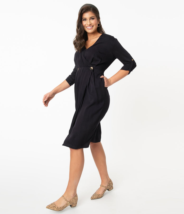 Retro Style Dark Navy Button Wrap Dress