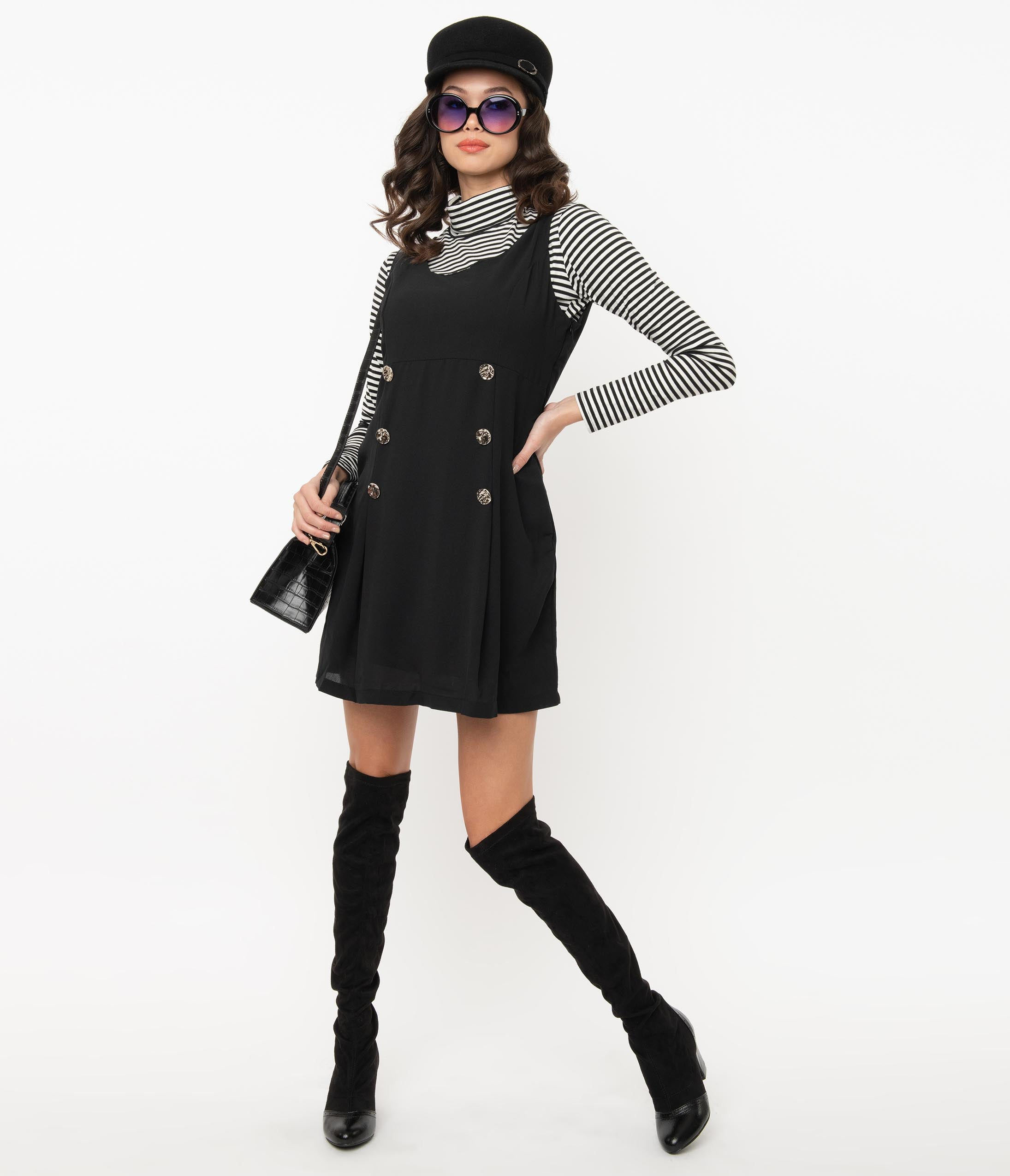 Shop Queen's Gambit Outfits – 60s Clothes Retro Style Black Jumper Dress $58.00 AT vintagedancer.com