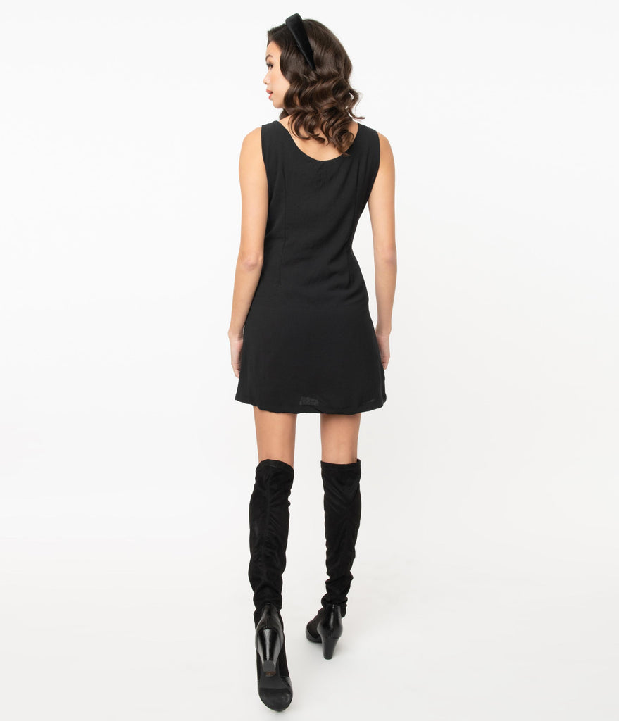 Retro Style Black Jumper Dress