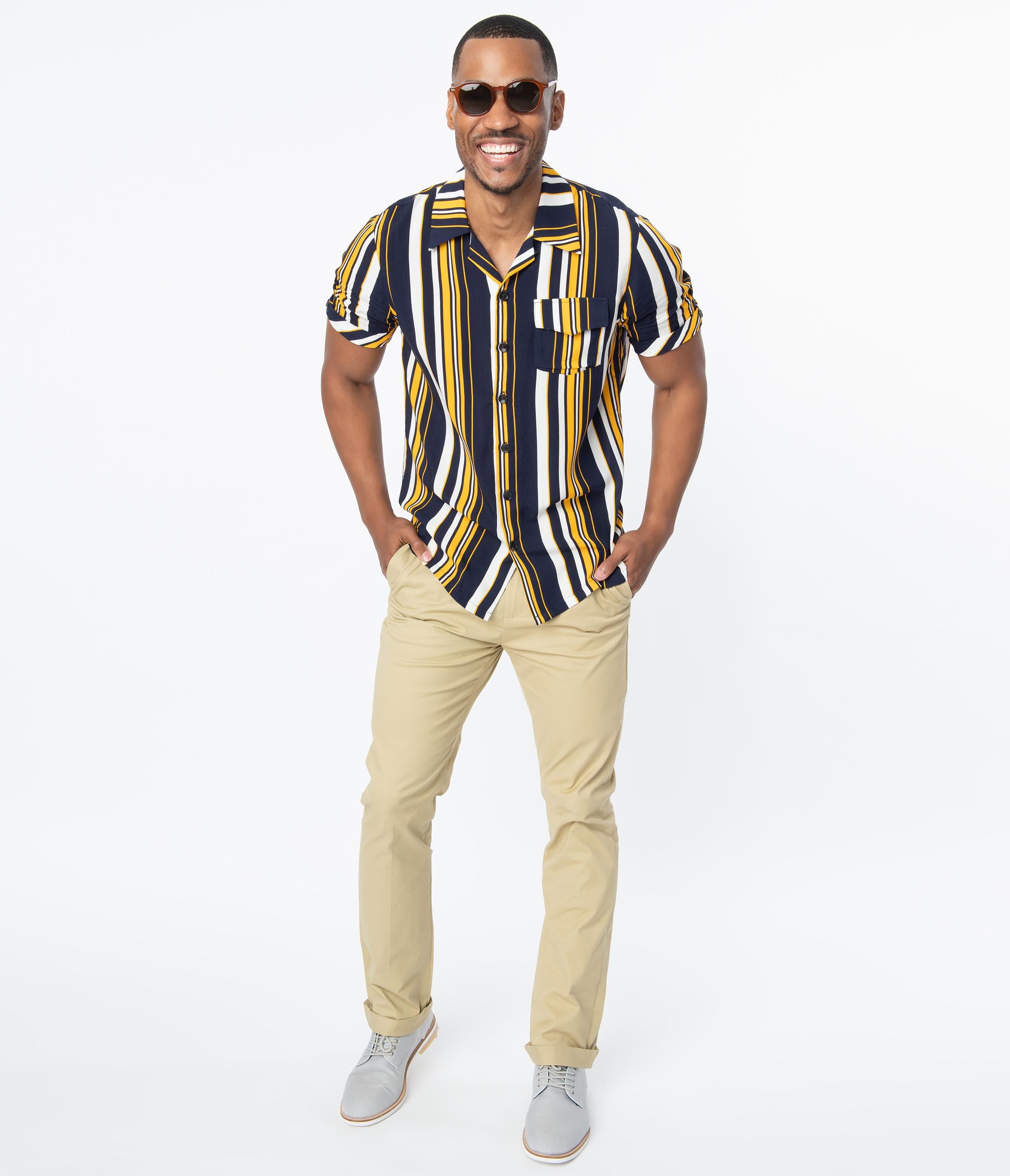 1960s Men's Outfit Inspiration | Clothing Ideas Collectif Khaki Chino Andy Mens Pants $84.00 AT vintagedancer.com