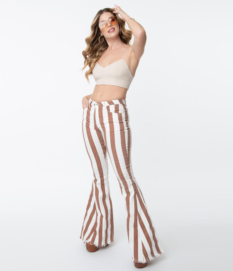 1970s Ivory & Brown Striped Bell Bottom Pants