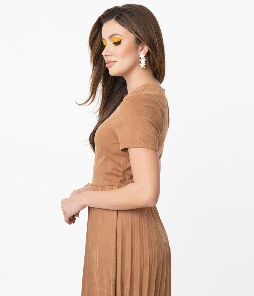 1940s Style Camel Tan Pleated Midi Dress