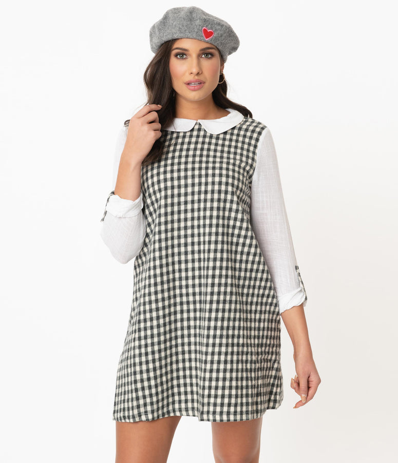 Retro Style Grey & White Gingham Tent Dress