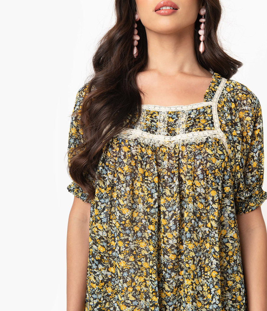 Black & Yellow Floral Babydoll Dress