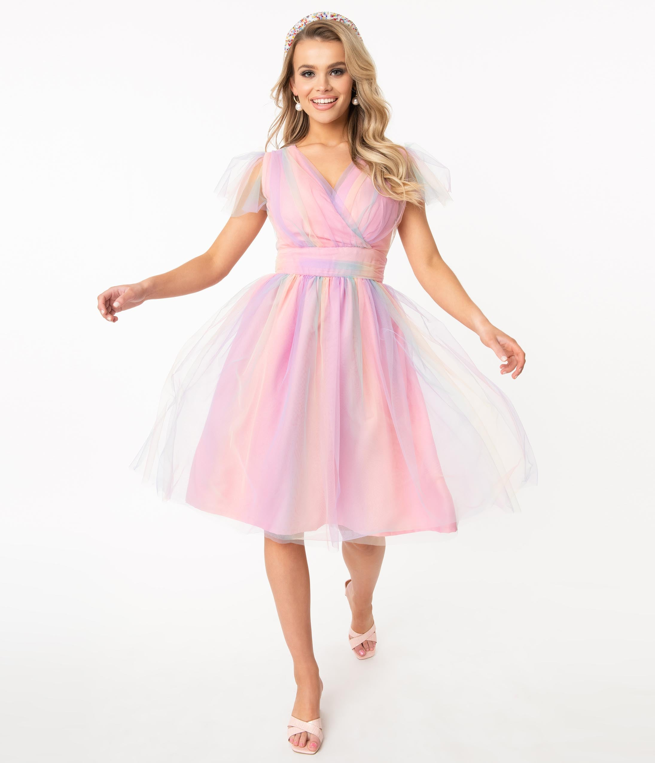 1980s Clothing, Fashion | 80s Style Clothes Pink Rainbow Ombre Tulle Alyssa Swing Dress $88.00 AT vintagedancer.com