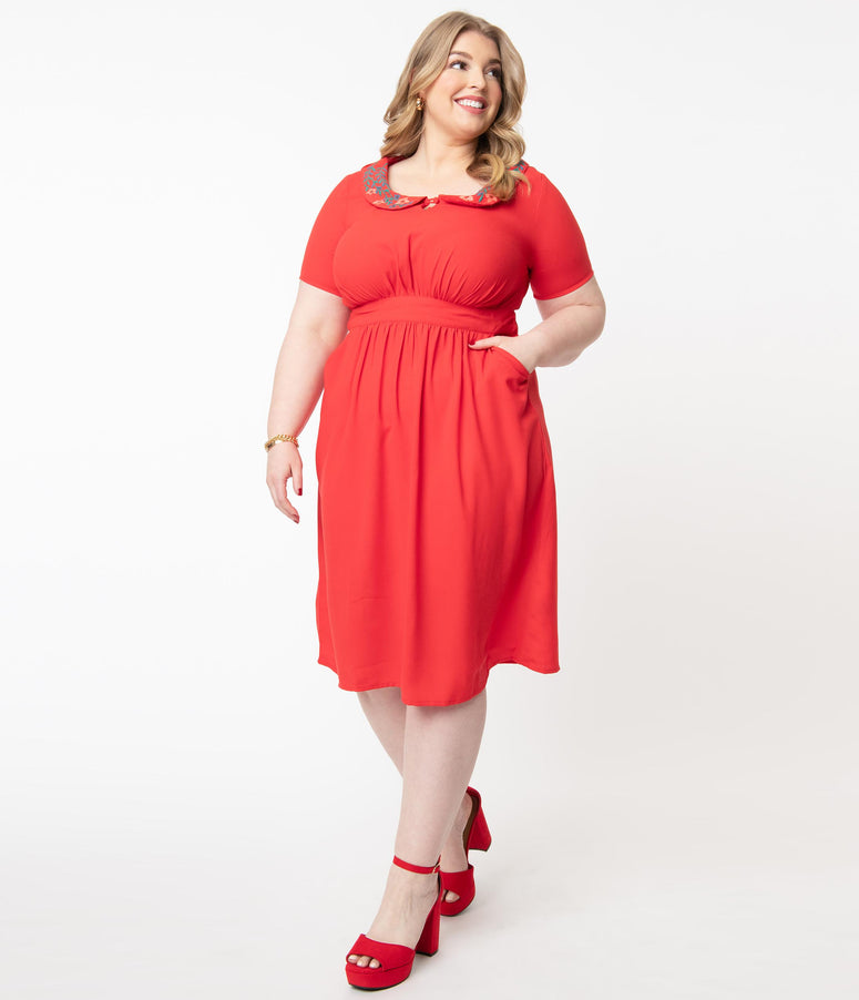 Plus Size 1950s Red Embroidered Collar Mavis Dress