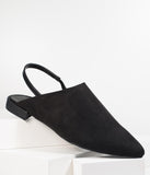 Black Suede Pointed Toe Slingback Flats