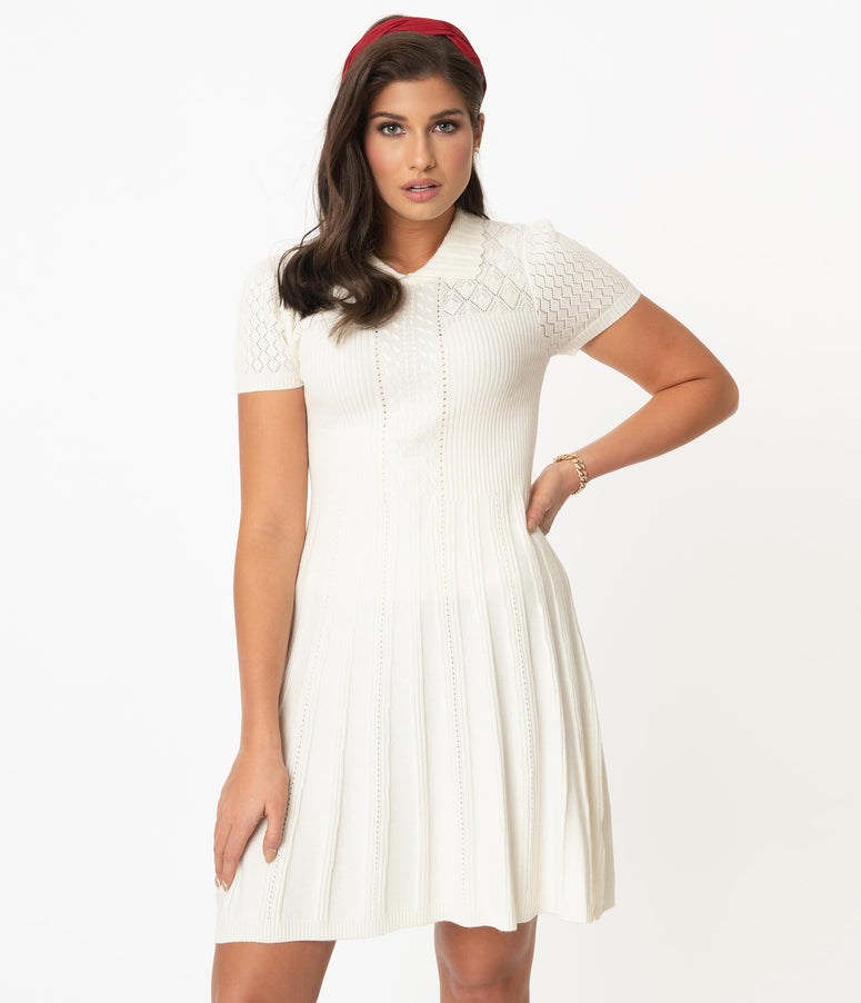 Vintage Style Ivory Knit Fit & Flare Sweater Dress