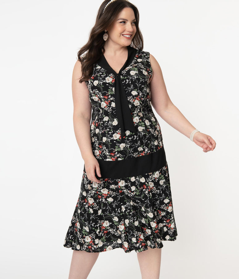 Unique Vintage Plus Size Black & Ivory Floral Print Davies Flapper Day Dress