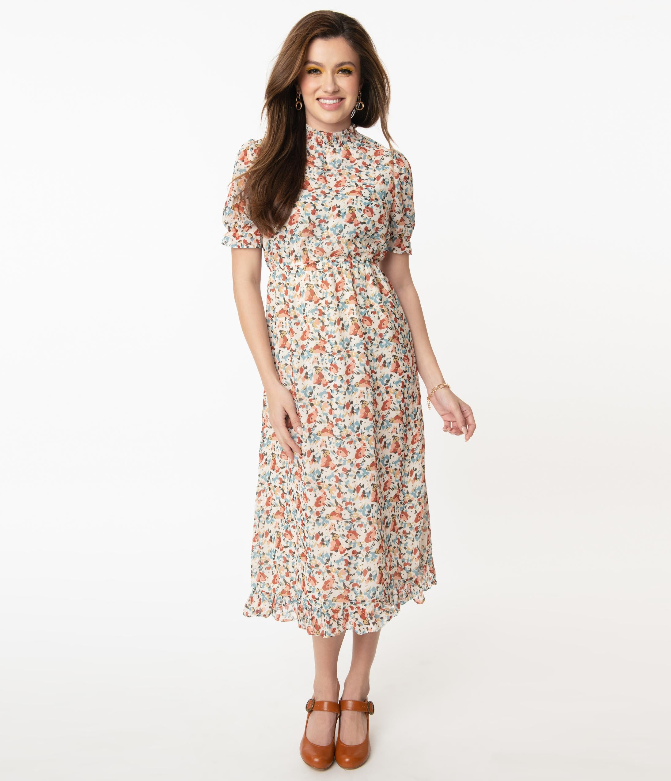 1940s Fashion Advice for Tall Women 1940S Style Off White  Multicolor Floral Print Midi Dress $68.00 AT vintagedancer.com