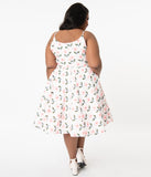 Plus Size 1950s Style White Eyelet & Pink Floral Print Ray Swing Dress