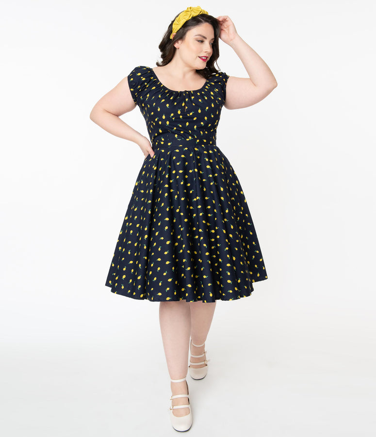 Plus Size 1950s Navy & Yellow Lemons Print Swing Skirt
