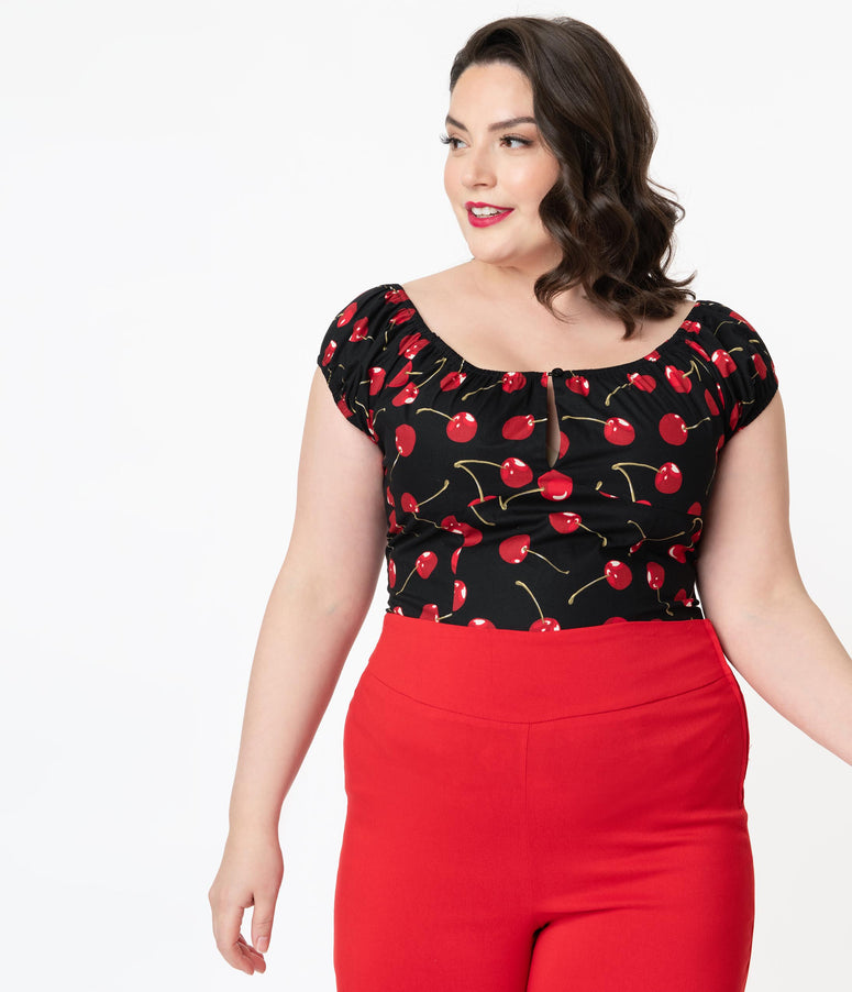 Plus Size 1950s Style Black & Red Cherry Print May Top