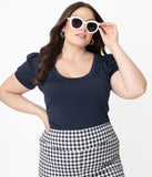 Unique Vintage Plus Size Navy Blue Short Sleeve Patty Top