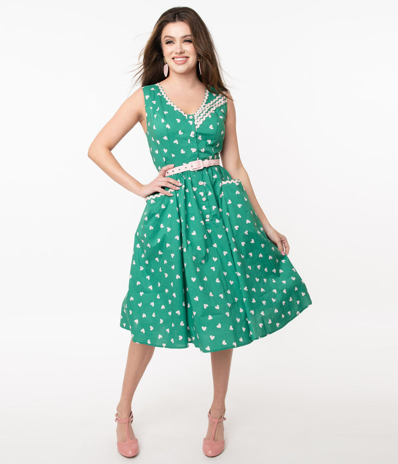 Unique Vintage Green & Pink Heart Print Syracuse Swing Dress